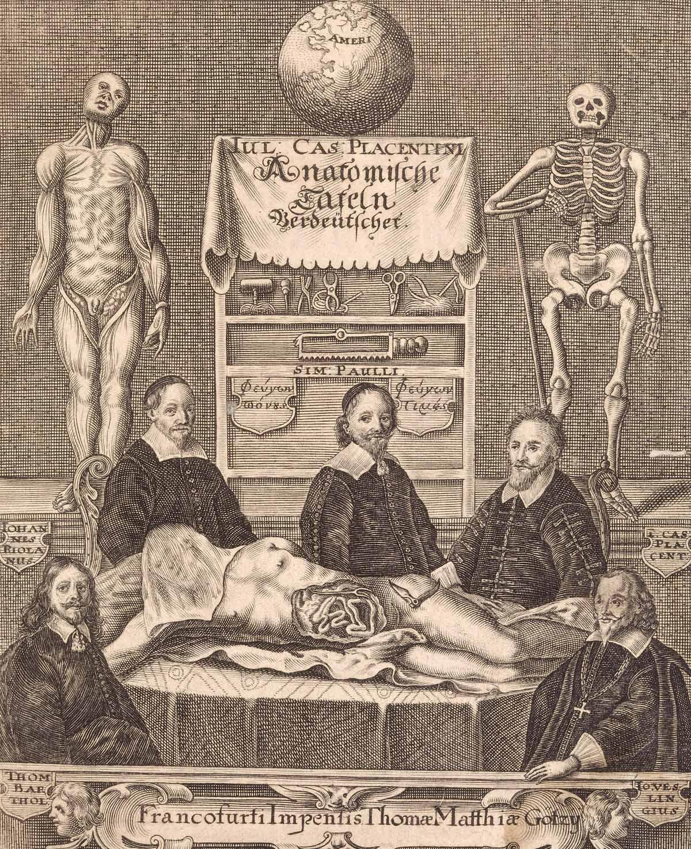 Frontispiece (copperplate engraving) for Giulio Casserio's 'Anatomische  Tafeln', Frankfurt, 1656