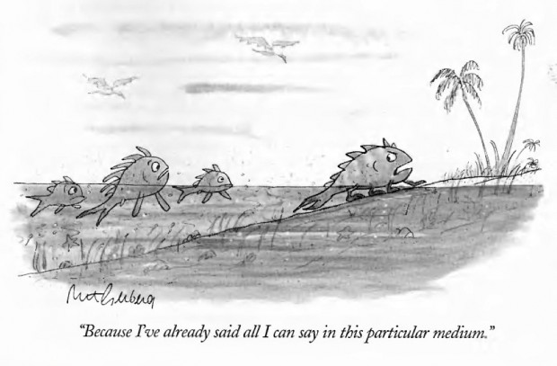 """""""…all I can say in this particular medium"""" by Mort Gerberg, published in 'The New Yorker', March 20, 1995, p. 66"""