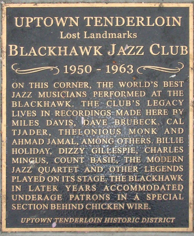 Black Hawk nightclub commemorative bronze plaque embedded in the sidewalk in San Francisco, Spring 2012. Image retrieved from ArtsAmerica.org