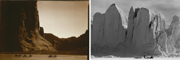 "Side-by-side comparison: LEFT: ""Canyon de Chelly"" (slightly cropped) by Edward S. Curtis, Arizona (USA), c. 1904. Public domain. RIGHT: ""Hunters on the Inglefield Fjord"" by Ragnar Axelsson, Greenland, 2004. © Ragnar Axelsson. Used with permission."