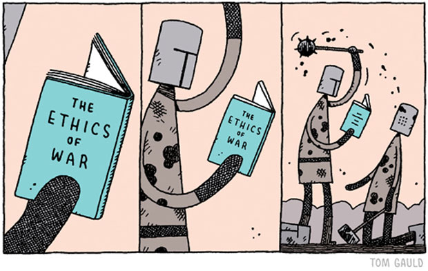 """The Ethic of War"" by Tom Gauld, no. 869, cartoon for the Guardian (Saturday Review letters page). Uploaded on December 10, 2012. © Tom Gauld"