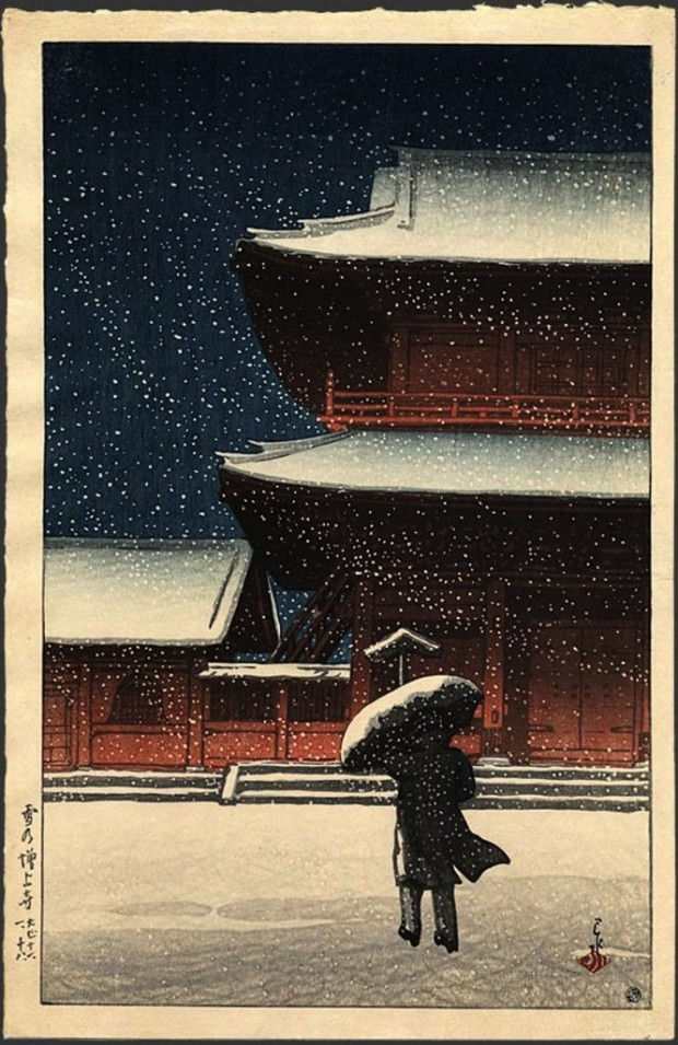 """Zojoji in Snow"" by Kawase Hasui, woodcut print, 14 5/8 x 9 5/8 in., 1922. Part of the  second Souvenirs of Travel (Tabi miyage dai ni shu) series. Image retrieved from The Japanese Art Open Database. Click for a larger view."