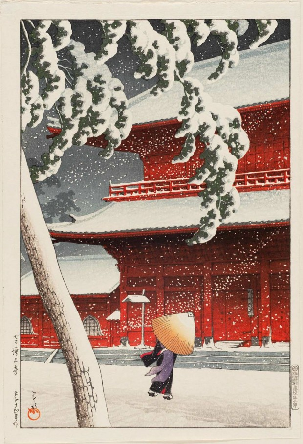 """Snow at Zojoji Temple, Shiba"" (""Shiba (No) Zojo-ji"") by Kawase Hasui, woodcut print, 14 1/4 x 9 1/2 in., 1925. Part of the Twenty Scenes of Tokyo series. Image retrieved from The Metropolitan Museum of Fine Art. Click for a larger view."