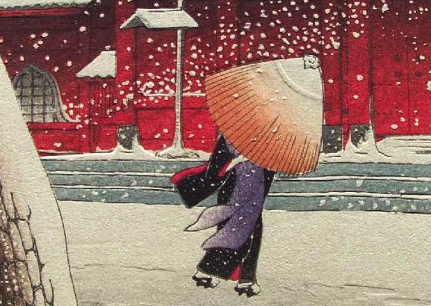 """Snow at Zojoji Temple, Shiba"" (detail) by Kawase Hasui, woodcut print, 14 1/4 x 9 1/2 in., 1925."
