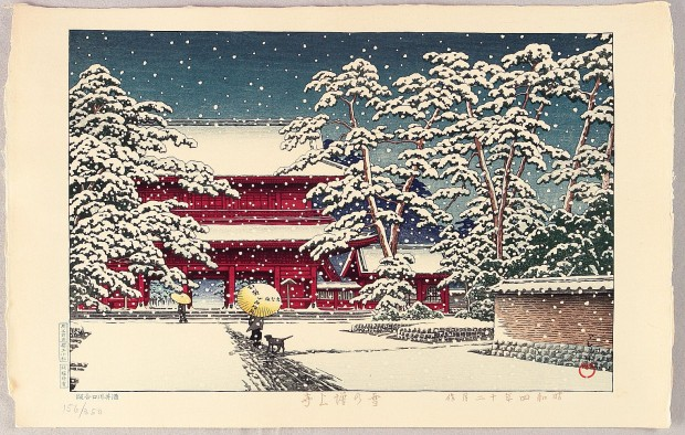 """(Yuki no Zojoji) Zojoji in Snow"" by Kawase Hasui, woodcut print, 9 7/8 x 14 5/8 in., 1929. Image retrieved from The Japanese Art Open Database. Click for a larger view."