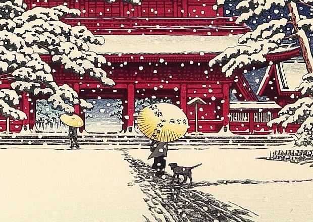 """""""(Yuki no Zojoji) Zojoji in Snow"""" (detail) by Kawase Hasui, 1929."""
