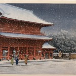 Zojoji Temple in Snow, four prints by Kawase Hasui