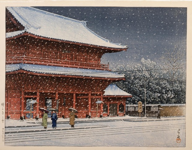"""Snow at Zojoji temple"" by Kawase Hasui, woodcut print, appr. 36cm x 47cm, 1953 © Tokyo Metropolitan Foundation for History and Culture"