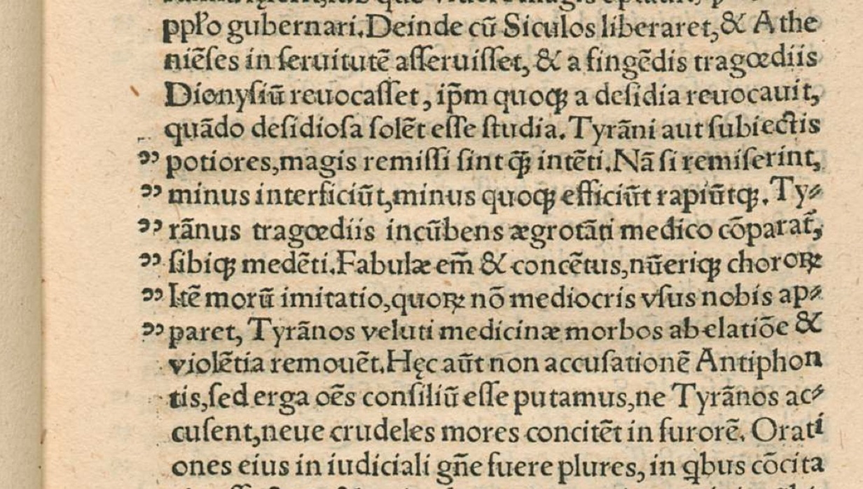 the origin and development of the quotation mark de vitis sophistarum by flavius philostratus printed in 1516 example of quotation marks on page 29