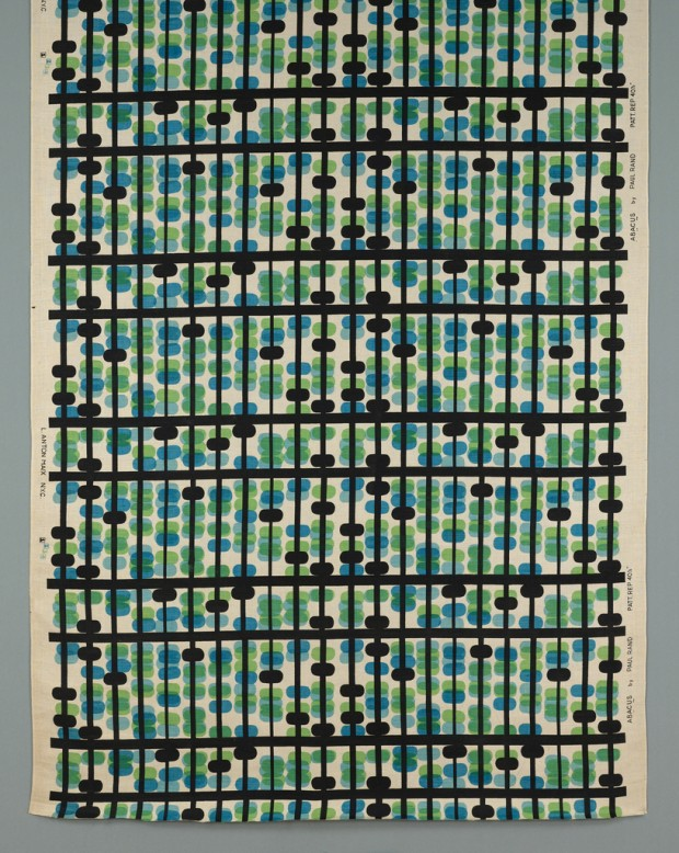 'Abacus': textile, designed by Paul Rand, manufactured by L. Anton Maix, Inc., linen Technique: screen printed on plain weave, ca. 1946. Retrieved from The Cooper–Hewitt, National Design Museum.