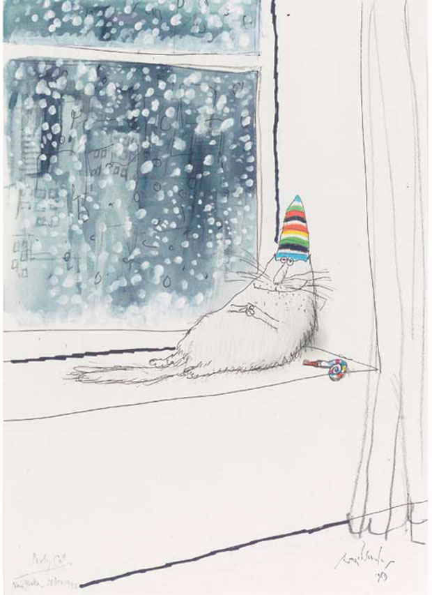 """Party cat"" by Ronald Searle, 1989. Image retrieved from Christie's."
