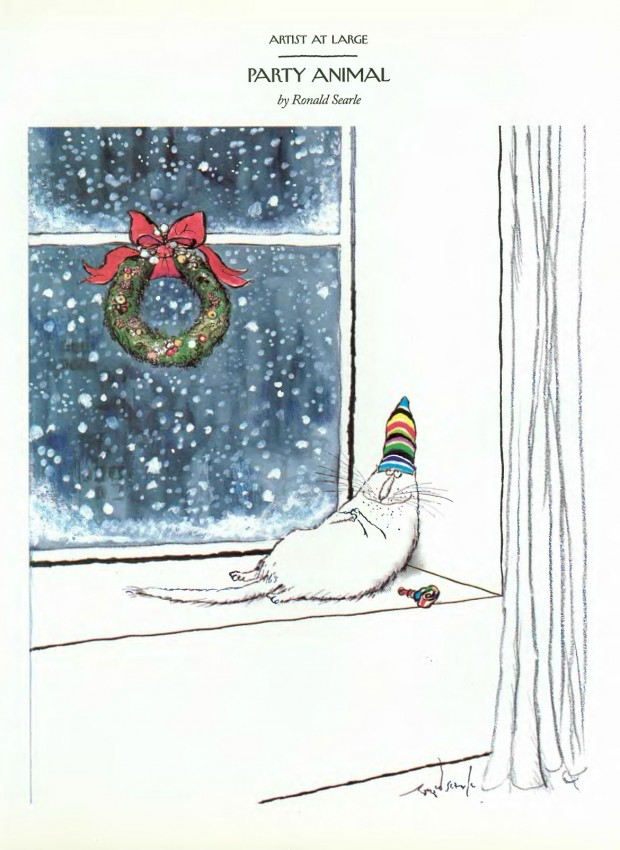 """Party Animal"" by Ronald Searle, The New Yorker, December 28, 1992/January 4, 1993, p. 157. © Condé Nast."
