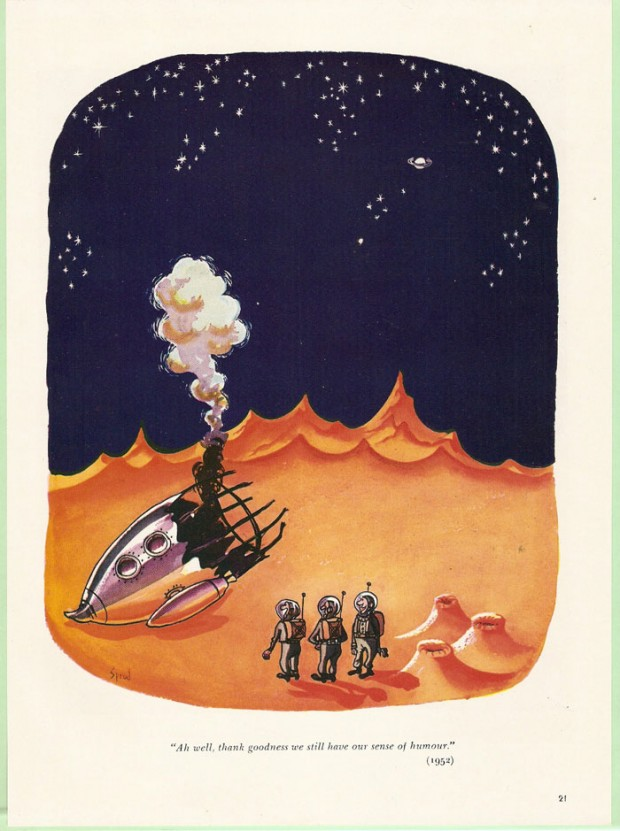 Cartoon about stranded astronauts by George Sprod, 1952.