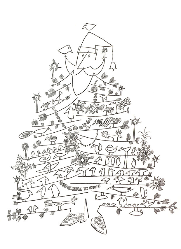 """Santa Claus as Christmas Tree"" by Saul Steinberg, 1949 or later, offset printing, black-and-white lineshot, 7 x 5 inches (17.8 x 12.7 mm), published by The Museum of Modern Art, collection of Tom Bloom."