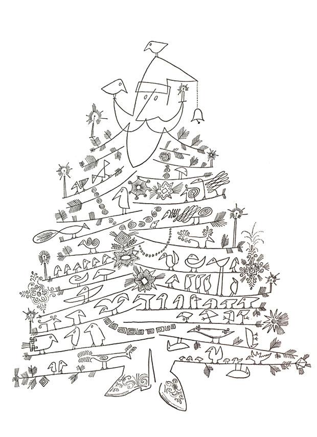 U201cSanta Claus As Christmas Treeu201d By Saul Steinberg C. 1949