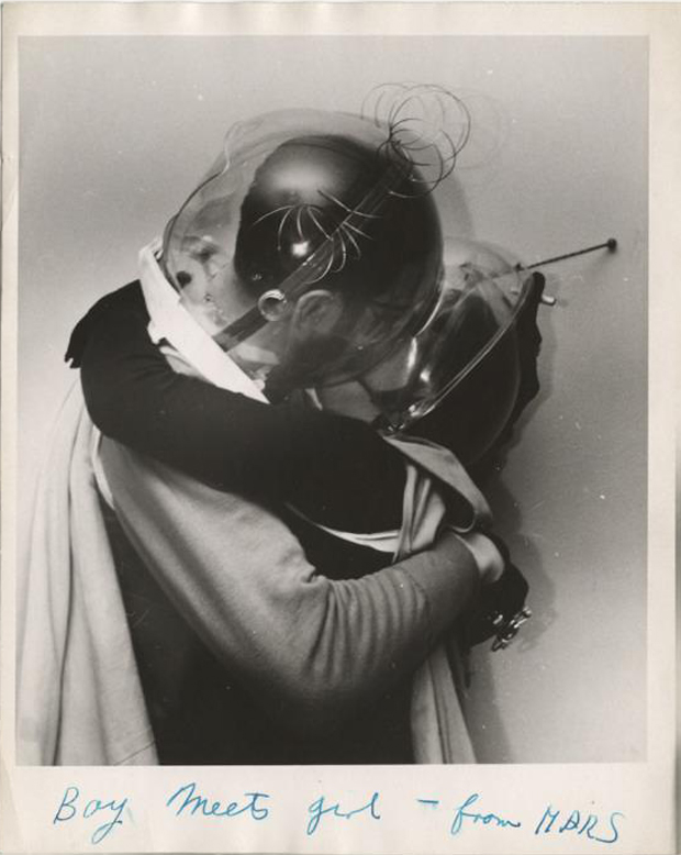 """Boy meets girl - from Mars"" by Weegee (Arthur Fellig), ca. 1955, New York (NY), gelatin silver print, image: 8 1/2 x 7 3/8 in. Accession number: 16855.1993. Credit: Bequest of Wilma Wilcox, 1993. © Getty Images/ICP"