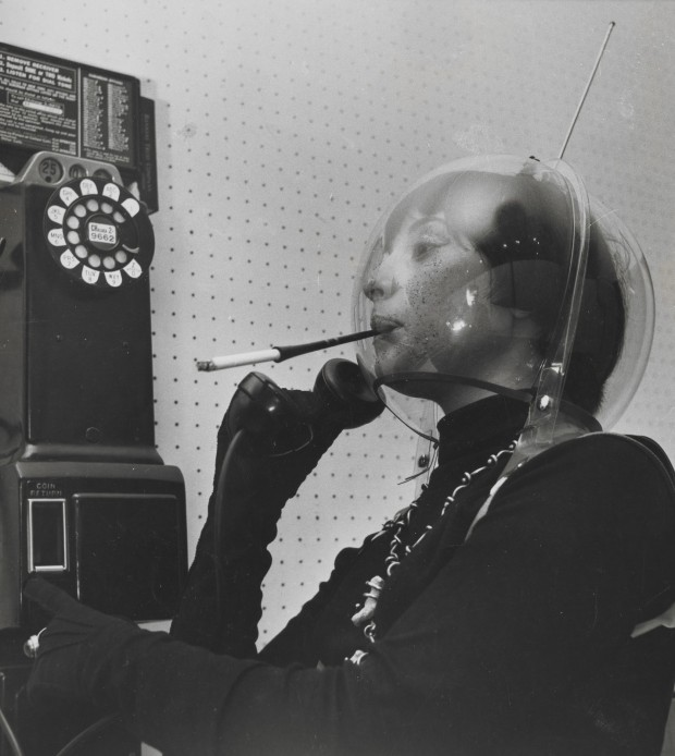 """""""Martian Woman On The Telephone"""" by Weegee, c1955, 9 x 7 1/2 in. © Weegee/International Center of Photography/Getty Images.  Indianapolis Museum of Art accession number: 2009.216"""