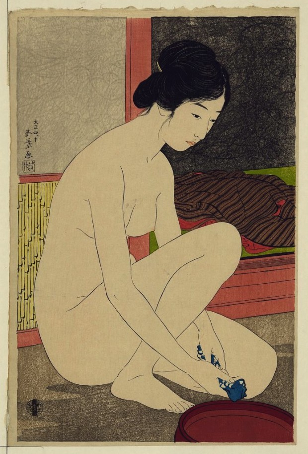 """Yokugo no onna"" (""Woman after a bath"") by Hashiguchi Goyō, 1915. Retrieved from The Library of Congress. Public domain."