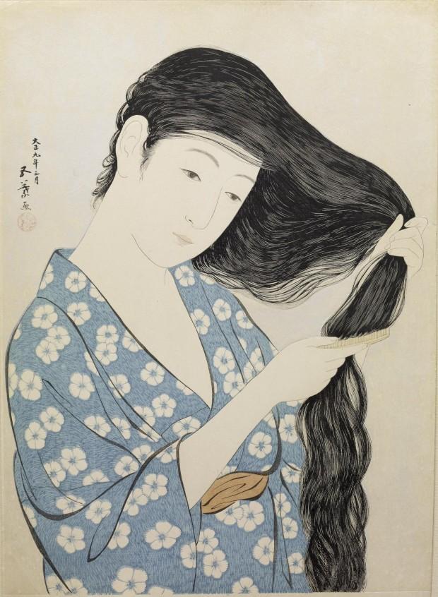 """Kamisuki (Combing the hair)"" by Hashiguchi Goyō, 1920. Retrieved from Wikimedia Common."