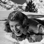 Actress Ingrid Bergman plays in the snow, LIFE magazine, February 1941