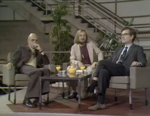 Still from the complete video recording of the Chomsky-Foucault debate that took place in 1971.