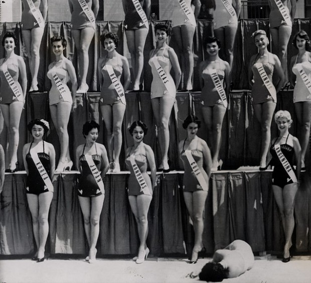 """Beauty Contestant Collapses"", photo by Perry Griffith, July 17, 1954. © The Ransom Center."