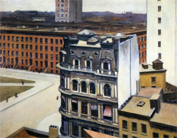 """The City"" by Edward Hopper, oil on canvas, 93.98 x 69.85 cm, 1927. Retrieved from Wikipaintings.org"