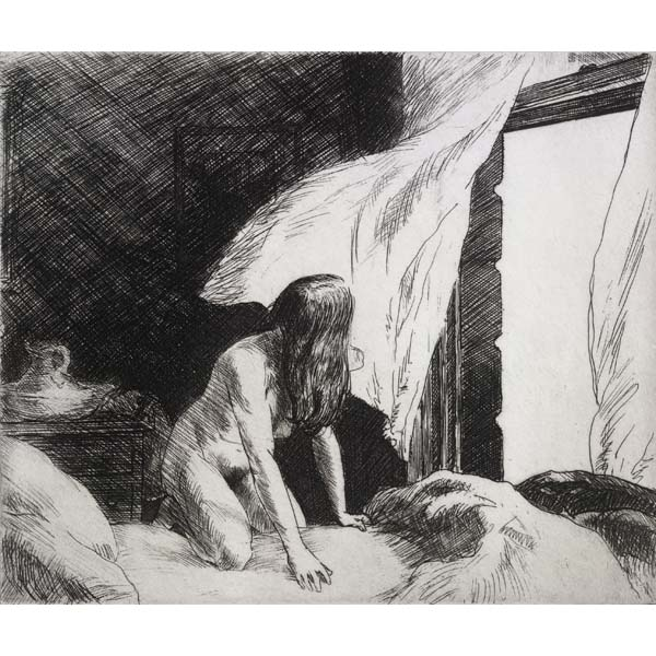 """Evening Wind"" by Edward Hopper, etching, 17.5 cm x 21 cm, 1921. Retrieved from The British Museum"