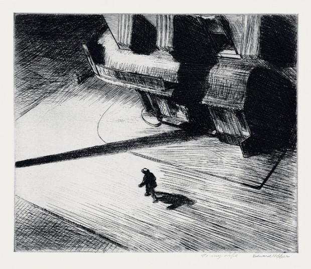 "Edward Hopper, ""Night Shadows"", etching: plate, 6 7/8 × 8 1/4 in. (17.5 × 21 cm); sheet, 13 5/16 × 14 1/2 in. (33.8 × 36.8 cm), 1921. Josephine N. Hopper Bequest,  no. 70.1048. © Heirs of Josephine N. Hopper."