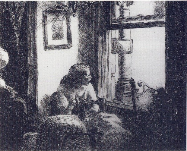 """East Side Interior"" by Edward Hopper, etching, 20 cm x 24.9 cm, 1922. Retrieved from Wikipaintings.org"