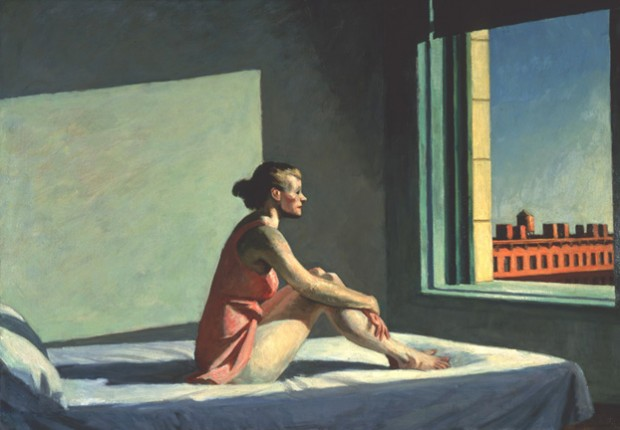 """Morning Sun"" by Edward Hopper, oil on canvas, 28 1/8 x 40 1/8"", 1952. Image retrieved from The Columbus Museum of Art."