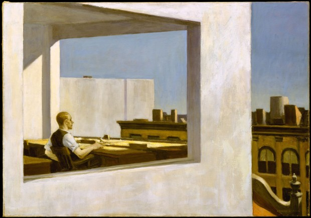 """Office in a Small City"" by Edward Hopper, oil on canvas, 28 x 40"" in., 1953. Image retrieved from The Metropolitan Museum of Art."