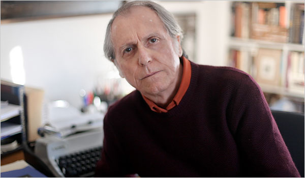 """""""The author Don DeLillo and his trusty manual typewriter at home in Westchester County, N.Y."""" Photo credit: Sara Krulwich/The New York Times, 2010. Retrieved from NYTimes.com"""