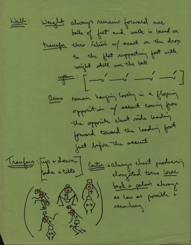 Hand-written production notes by Stanley Kubrick for 2001: A Space Odyssey about the movement of the Australopithecus characters.