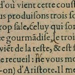 Image of the original French version from 1580 of Montaigne's comment on sneezing (Essays, Book III, c. VI.)