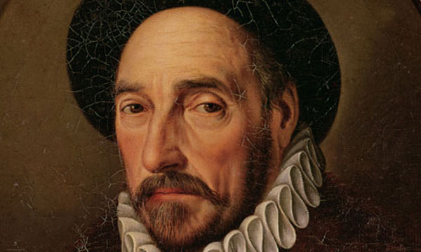 Portrait of Michel Eyquem de Montaigne (1533-92) (oil on canvas), French School, (17th century) / Private Collection / Giraudon / The Bridgeman Art Library