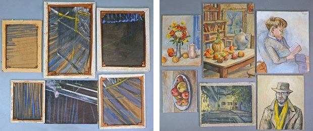 Back (left) and front (right) views of six pieces of discarded painting(s) by Francis Bacon. British artist  Lewis Todd painted on the unused side of the canvas. Images: BBC