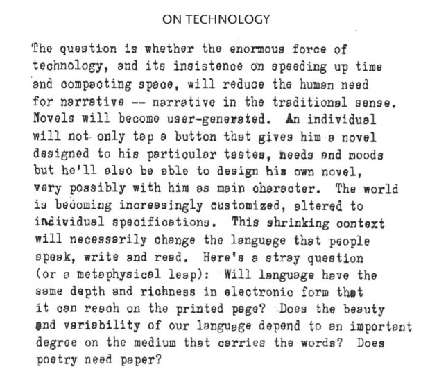 """On Technology"" in ""An Interview with Don DeLillo"", September 15, 2010"