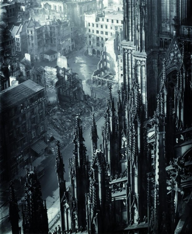 Cologne Cathedral by Karl Hugo Schmölz, Cologne Cathedral, gelatin silver print, 35,9 x 30,2cm, 1947. Image retrieved from melisaki.tumblr.com