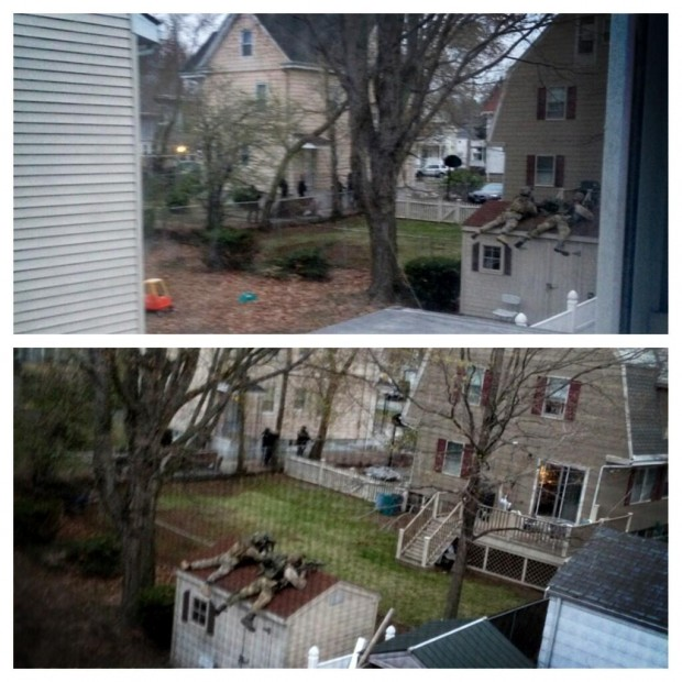 "Photo originally uploaded on Twitter by Shawna England (@shawna_england) on April 19, 2013 with the mention ""View from my house...crazy #watertown """