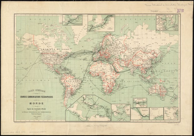 """Carte générale des grandes communications télégraphiques du monde"" (""General Map of Worldwide Telegraphic Communications"") by the International Telegraph Bureau (Bern, Switzerland), 1901. Call number: G3201.P92 1903 .B87x. Retrieved from the Norman B. Laventhal Map Center"