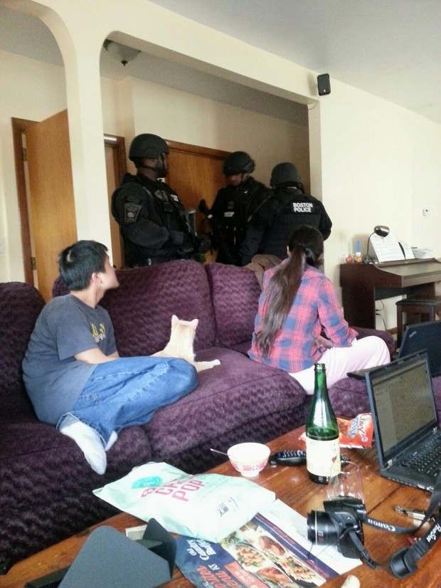 """Photo originally uploaded on Twitter by Henry Nguyen (@MunKYBoii) on April 19, 2013 with the mention """"Just got searched for safety measures for the #manhunt in #watertown """""""