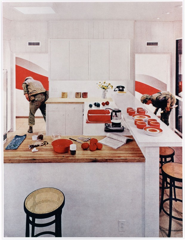 "Martha Rosler, ""Red Stripe Kitchen"" from the series 'House Beautiful: Bringing the War Home', 1967–72 (printed early 1990s), chromogenic print, image: 59.5 x 45.2 cm (23 7/16 x 17 13/16 in.), Metropolitan Museum of Art, accession no. 2002.393. © Martha Rosler 1970, 2002."