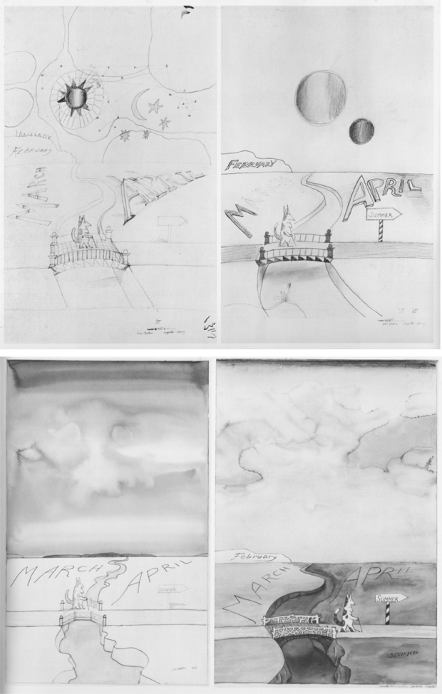 """""""March to April"""" variations by Saul Steinberg, 1965-1966. Top left: """"March-April VI"""" 1965; top right: """"March-April I"""" 1965; bottom-left: """"March-April  IV, 1966; bottom-right: """"March-April V, 1965"""" Retrieved from the Whitney Museum of American Art, catalog (New York, 1978) pp. 62-63."""