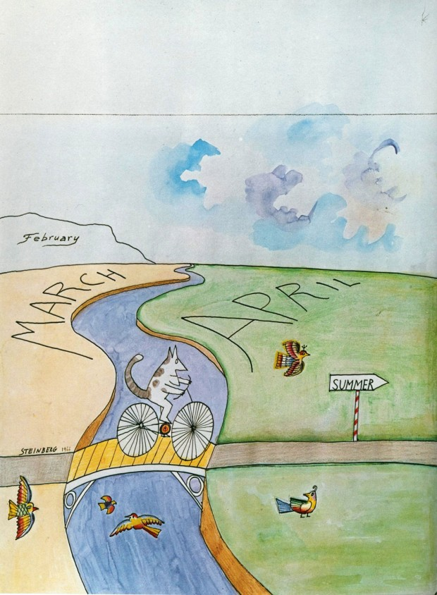 """March to April"" illustration by Saul Steinberg, 1966 © The Saul Steinberg Foundation. Reproduced in the Whitney Museum of American Art's catalogue 'Saul Steinberg' ( Alfred A. Knopf, 1978, p. 132). Reproduction retrieved from Being Akin."