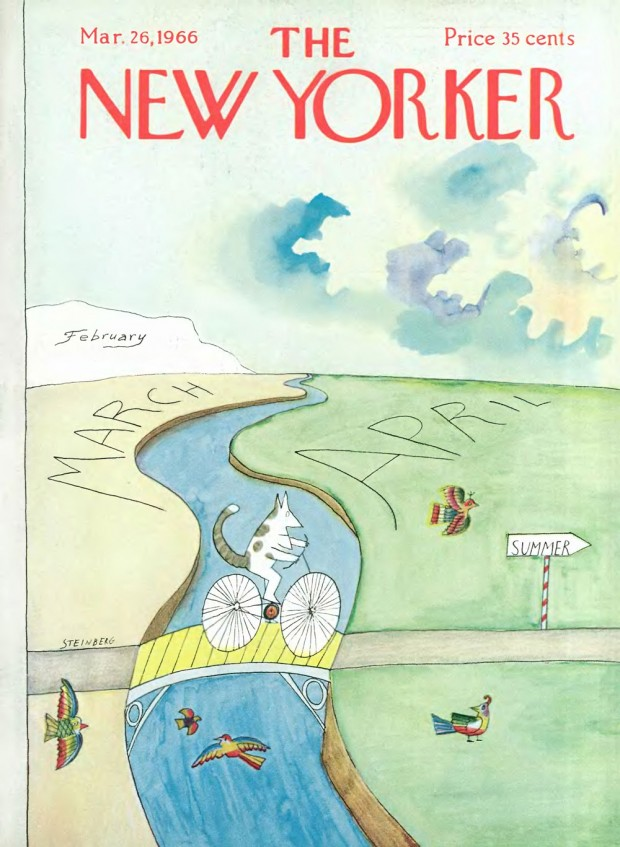 """""""March to April"""", cover art by Saul Steinberg, March 26, 1966. © Condé Nast."""