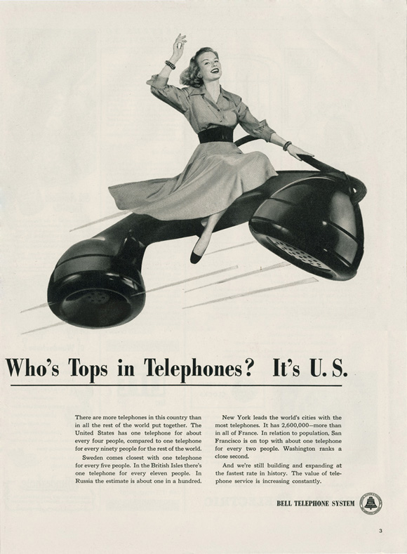 "LIFE hosted by Google: ""Who's Tops in Telephones? It's U.S."" advertisement for Bell Telephone System, July 19, 1948, p. 3"