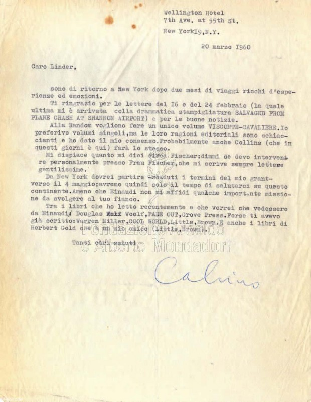 Reproduction of a letter addressed to Linder which Italo Calvino typed while he was staying at the Wellington Hotel in New York, March 20, 1960. Image retrieved from Portaletture