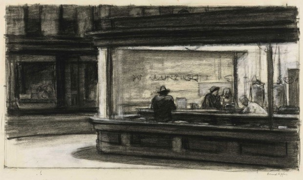 """Study for Nighthawks"" by Edward Hopper, 1941 or 1942, fabricated chalk and charcoal on paper, 11 1/8 × 15 in. (28.3 × 38.1 cm). Whitney Museum of American Art, New York; purchase and gift of Josephine N. Hopper by exchange. Ref. no. 2011.65"
