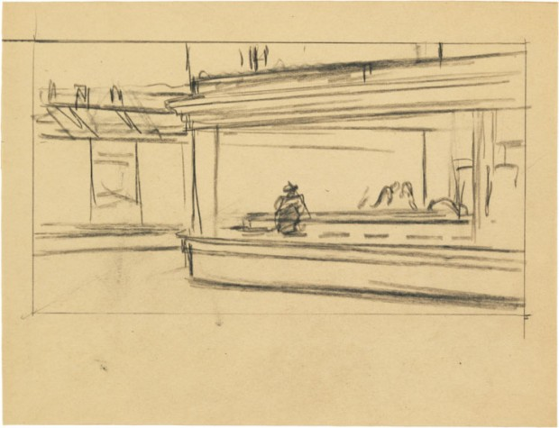 Study for 'Nighthawks' by Edward Hopper, 1941 or 1942, fabricated chalk on paper, 8 1/2 x 11 in., Whitney Museum of American Art, New York; Josephine N. Hopper Bequest 70.193